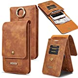 #6: JiiJian 5.5 Inch Men Phone Waist Bag Pack, PU Leather Cellphone Carring Case Mobile Phone Belt Bag Case with Card Slots for 4-5.5 Inch Cellphone-Light Brown