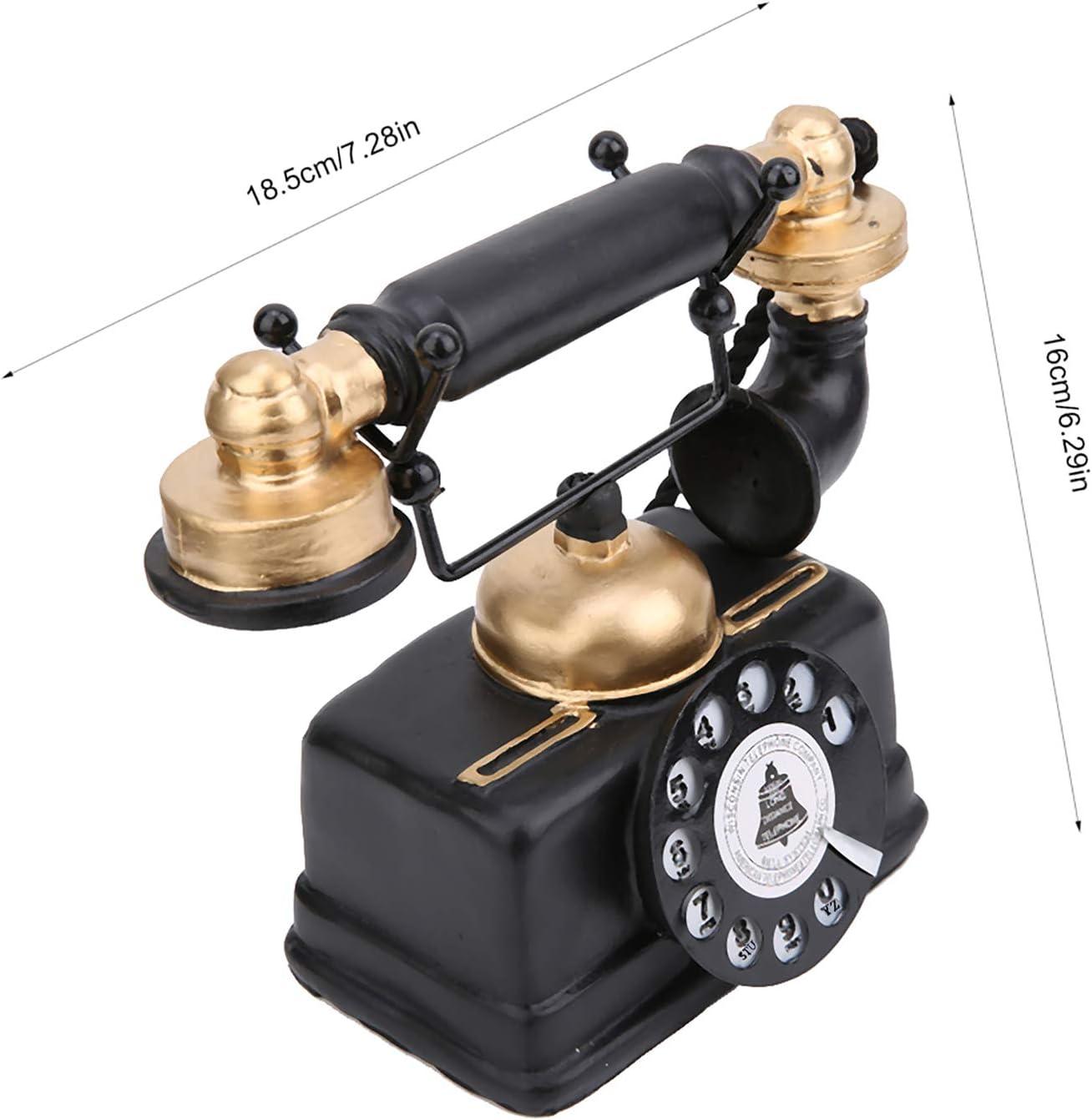 iFCOW Vintage Retro Antique Phone Vintage Bedroom Decor Wired Corded Landline Telephone Home Desk Decor Ornament