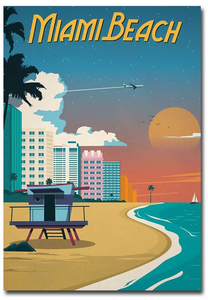"Miami Beach Travel Vintage Art Refrigerator Magnet Size 2.5"" x 3.5"""
