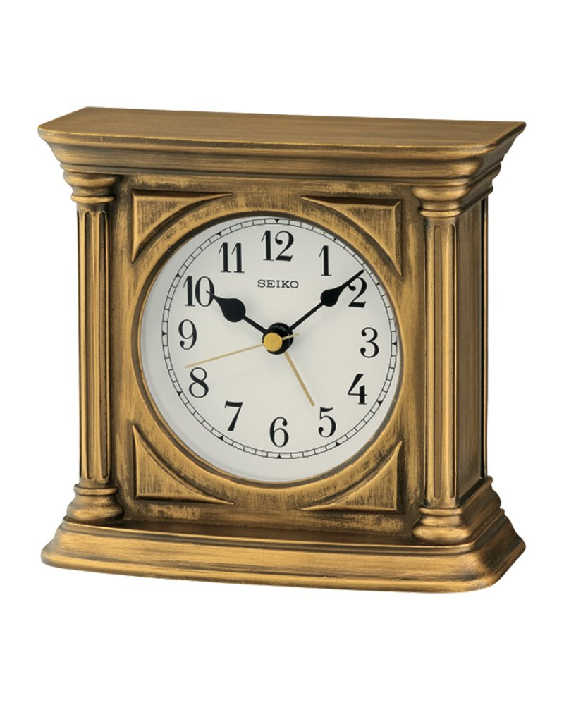 Seiko Antique Finish Mantel Alarm Clock, Wood, Gold QXE051G