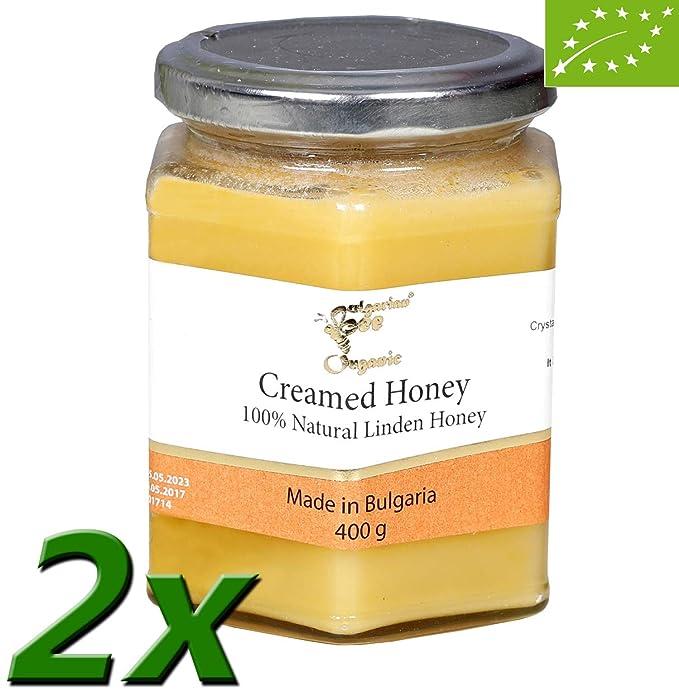 800 g Crema Miel de Tilo orgánica, sin azúcar, sin calentar, sin pasteurizar, crudo, miel real BulgarianBee®