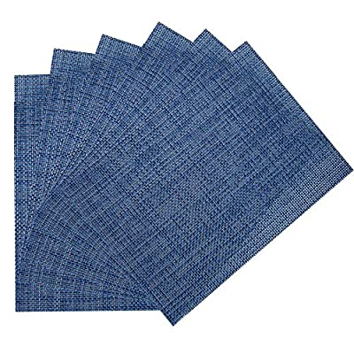 "Benson Mills Longport Woven Vinyl Placemat (Set of 6), Azure, 13 x 18"" - RESTAURANT QUALITY!  These are perfect for any occasion.  VERY EASY TO CLEAN! Made of 100% Vinyl FUN COLORFUL OPTIONS FOR YOUR CONVENIENCE. - placemats, kitchen-dining-room-table-linens, kitchen-dining-room - 61chkZ25hEL. SS400  -"