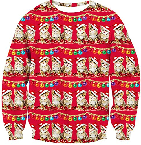 Leapparel Boy and Girls Christmas Pizza Cat Sweatshirt 3D print Santa Animal Pullover Costumes Red -