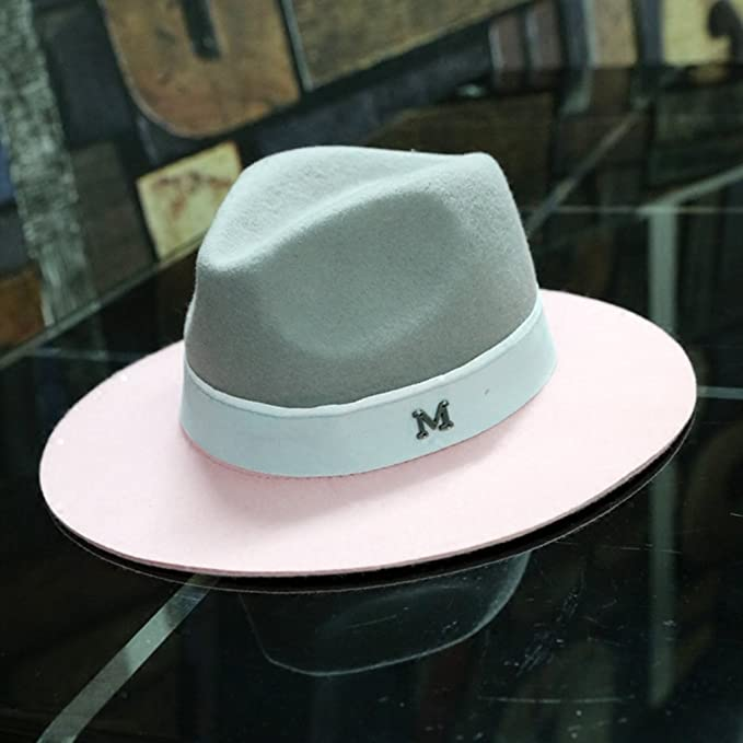 a1e0ba5f93954 Image Unavailable. Image not available for. Color  AOBRITON Elegant Winter  Wool Jazz Fedora Hat Large Brim Cowboy Panama Bucket Cap