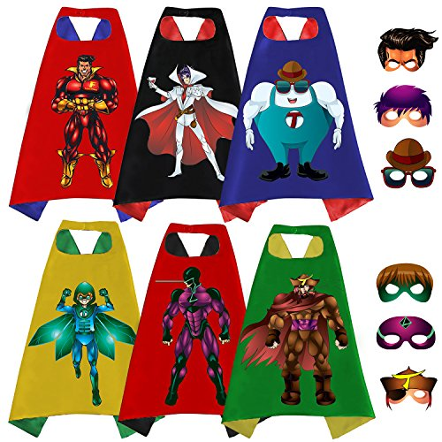 Superhero Capes, Masks, and Bracelets for Kids by McFlony – 3 Reversible Capes, 6 Felt Masks, 6 Superheroes Bracelets and 1 Comic Book]()