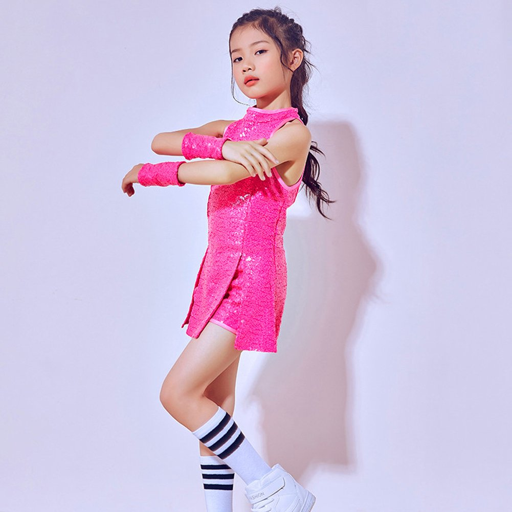 DREAMOWL Girls Sequins Jazz Dance Costume Sparkle Mini Dress Hip Hop Street Dance Outfit
