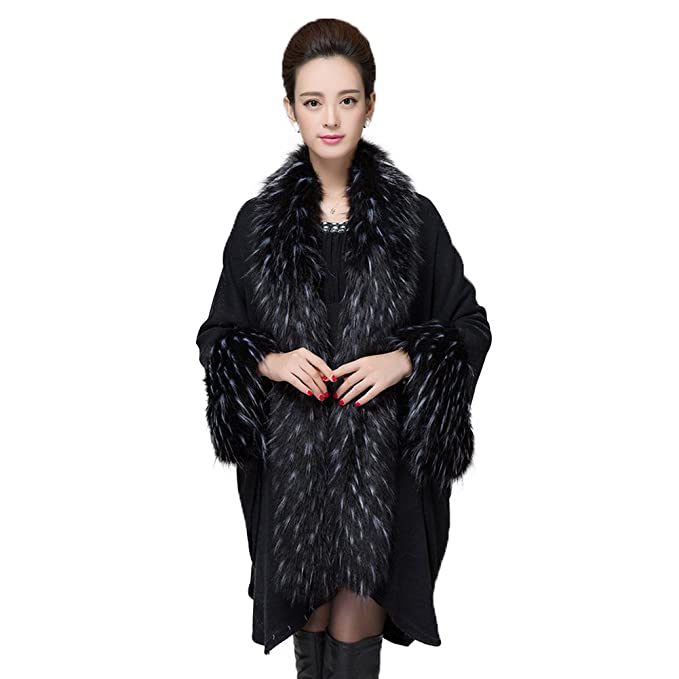 Faux Fur Shawl Pashmina Cape Cloak Coat With Sleeve $47.99 AT vintagedancer.com