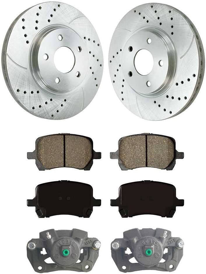 Auto Shack SRBRPKG00022 Front Disc Brake Caliper Ceramic Brake Pad and Performance Rotor Bundle Silver 296mm Rotor Diameter 1 Piston Caliper