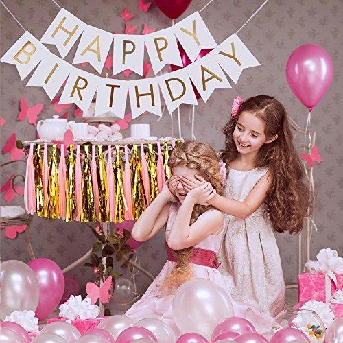 Happy Birthday Banner: Premium Quality White And Gold Birthday Decoration - Versatile, Durable, And Elegant Garland - Perfect Kids Birthday Decoration