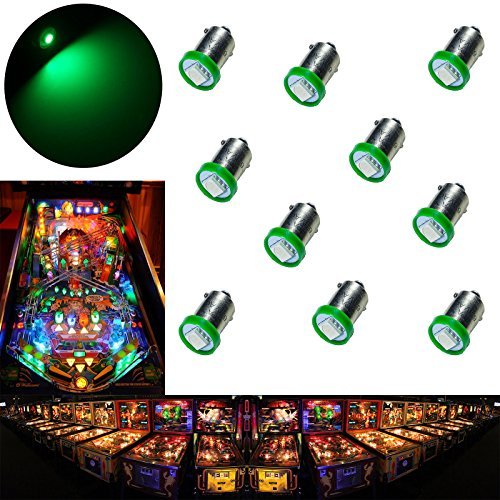 - PA 10PCS #1893 #44 #47 #756 #1847 BA9S 1SMD LED Wedge Pinball Machine Light Bulb Green-6.3V