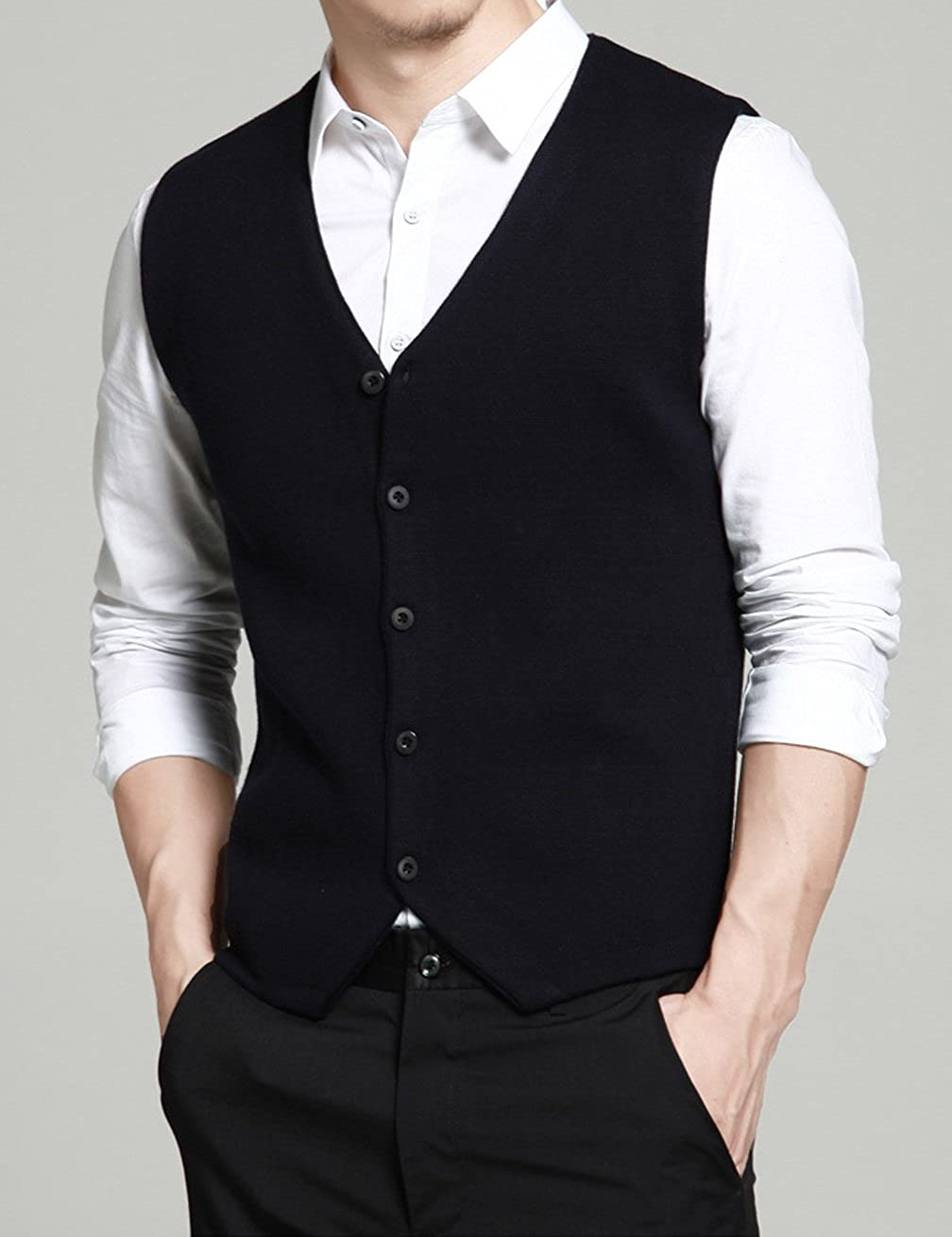 Gameyly Mens Slim-Fit Solid Knit Sweater Vest Sleeveless Tank Gameyly-100612-M-Black