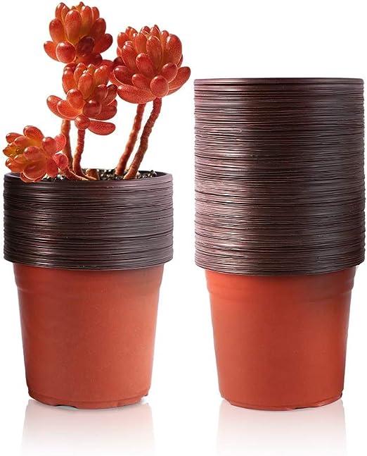 6 Inc... YIKUSH 6 Inch 100 Pack Plastic Nursery Pots for Seeding Flower Planter