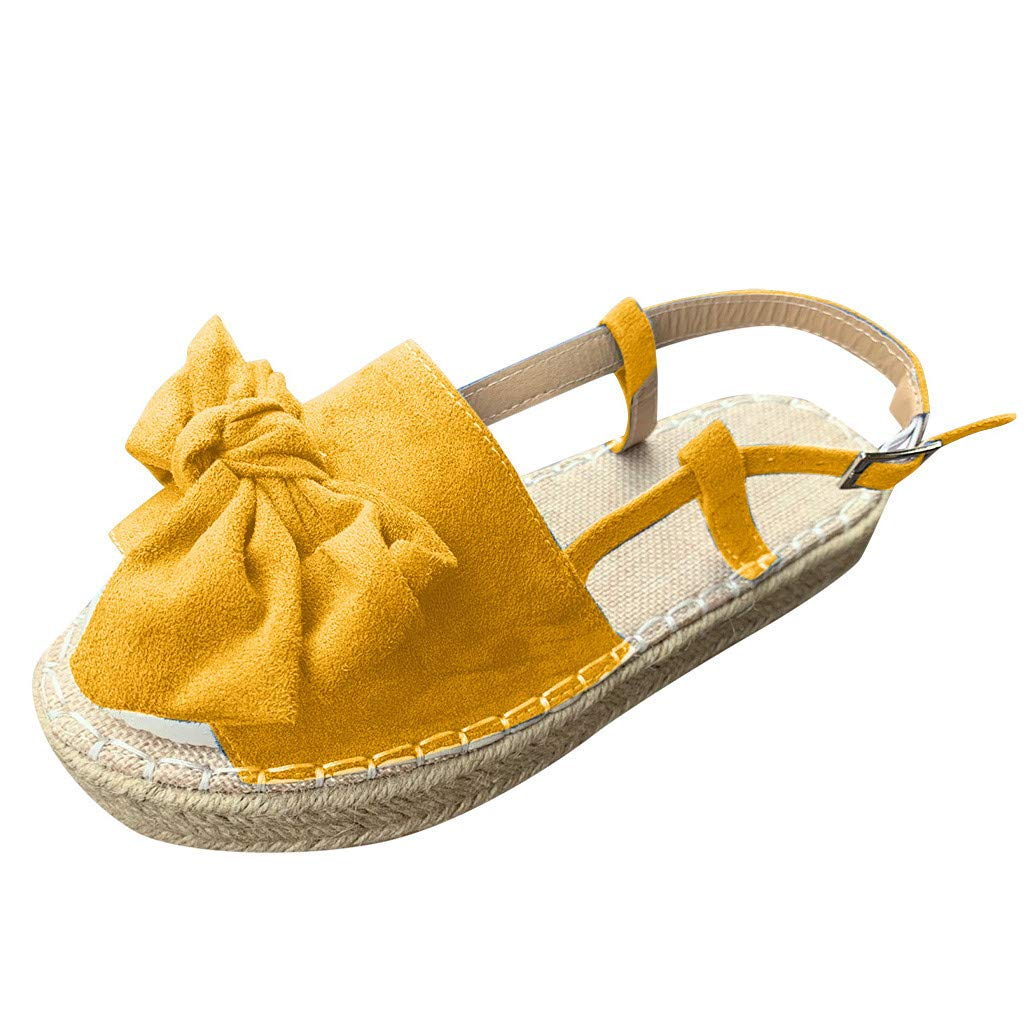 ✔ Hypothesis_X ☎ Women's Double Strap Cork Sole Slide Sandal Peep Toe Butterfly Knot Buckle Strap Sandals Yellow