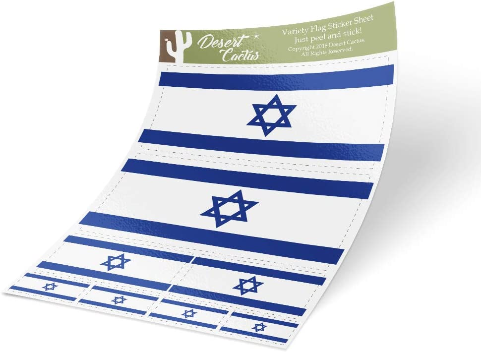 Israel Country Flag Sticker Decal Variety Size Pack 8 Total Pieces Kids Logo Scrapbook Car Vinyl Window Bumper Laptop V