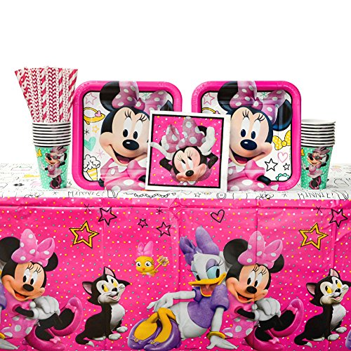 Minnie Mouse Happy Helpers Birthday Party Supplies Pack for 16 Guests | Straws, Dinner Plates, Lunch Napkins, Cups, and Table Cover| Celebrate Your Kid's Birthday with this Minnie Mouse Party Bundle