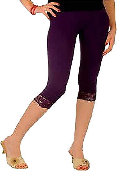 Womens Lace Trim 3//4 Leggings 12-26