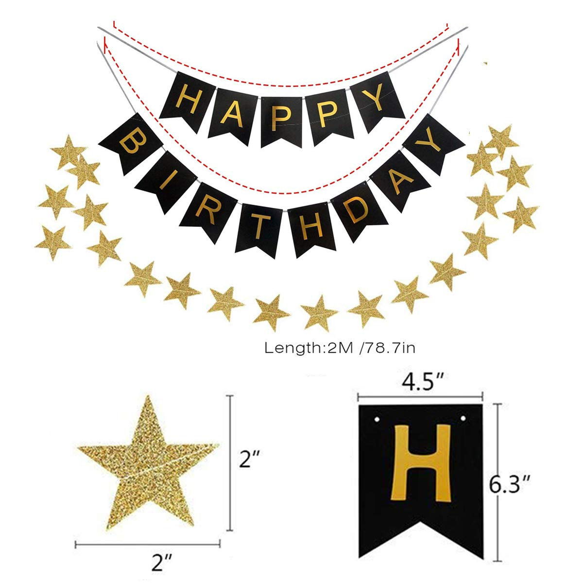 """Kit Decorazione Festa di Compleanno Ideale per Decorazioni di Party Confezione di 30 Palloncini 1 Stella Arcobaleno Bandierine di Buon Compleanno /""""Happy Birthday/"""" Set di 9 Pompon a fiore"""