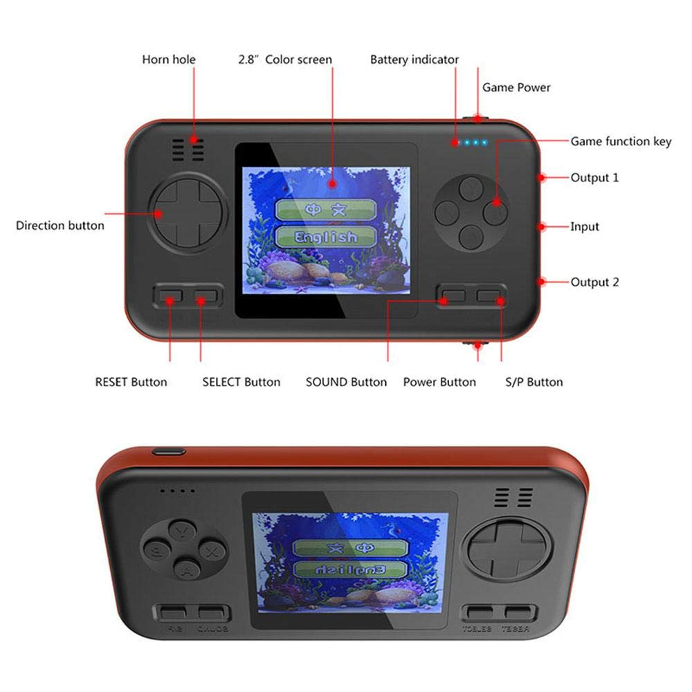 LAYOPO Retro Game Console, 416 Games Retro Game ConsoleMini Player Game Travel Portable Gaming System, Power Bank 8000mAh Battery 2.8 Inch Color Screen Handheld Game Machine Best Gift for Adult Kids by LAYOPO (Image #2)
