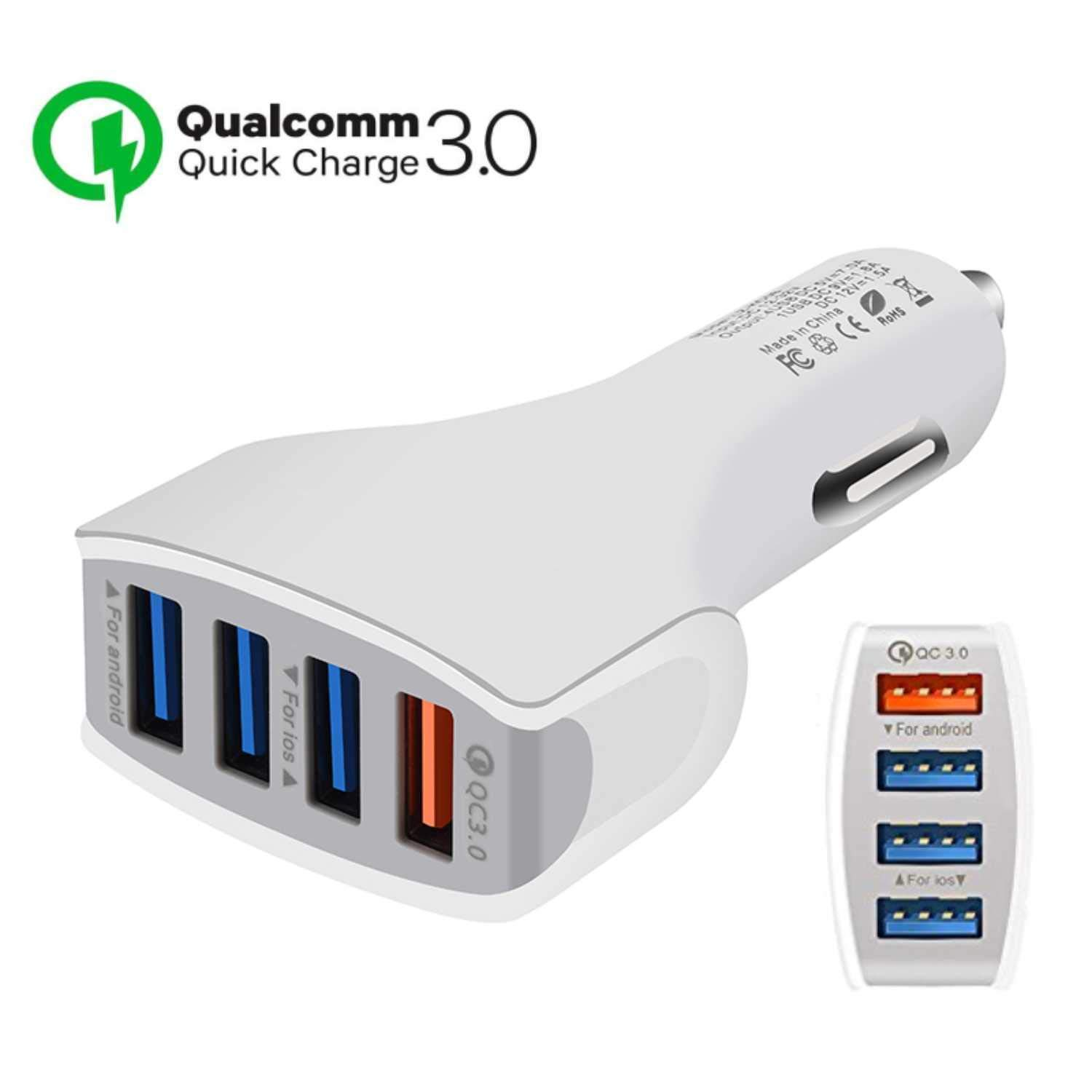 White TJC Car Charger Quick Charge 3.0 4 Ports USB Qualcomm QC 3.0 Fast Charging Adapter Multi Protection Technology Compatible with Android Smartphones Samsung S9//S8 Plus,Sony,iPhone X//8 iPad