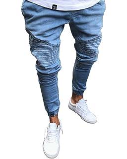 Herren Skinny Ankle Jeans Hose Stretch Jeanshose mit mit Gummizug Am Knöchel 036fd0b2da