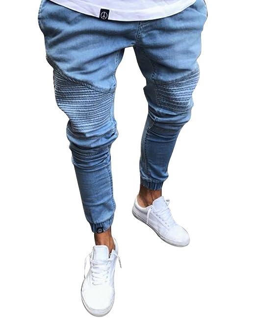 2f8c322b2337 Uomo Jeans A Vita Alta Slim Fit Pantaloni con Elastico alla Caviglia:  Amazon.it: Abbigliamento
