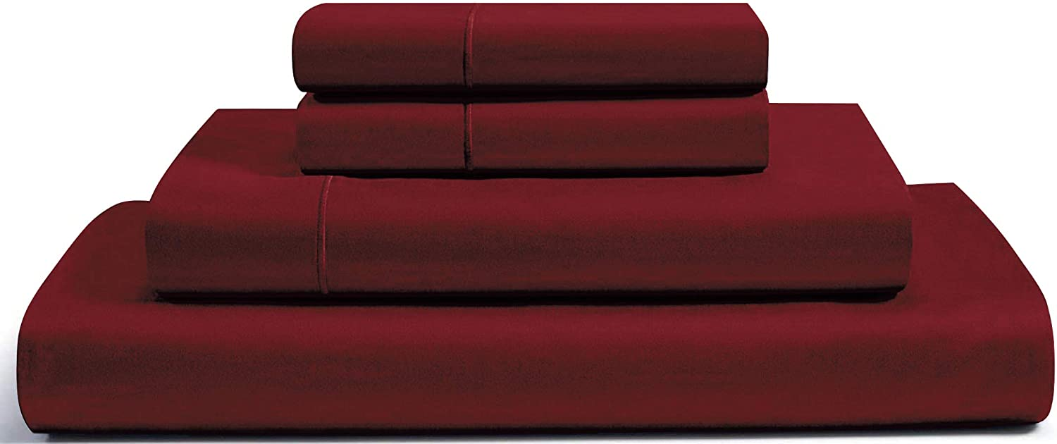 "RENAURAA 1000 Thread Count True Egyptian Extra Long Staple Cotton Sheet Set, 4 Pc Set, Sateen Weave, Hotel Collection Soft Luxury Bedding, Fits Upto 16"" Deep Pocket (Burgundy, King)"