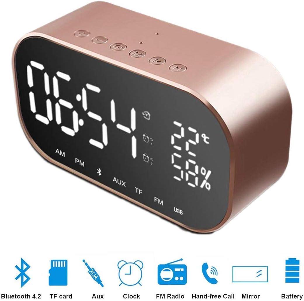 Altavoz Bluetooth de Reloj Despertador, shsyue Altavoz Bluetooth con termómetro, Pantalla LED Regulable, Alarma Dual con repetición, Ranura para Tarjeta TF (Oro Rosa)