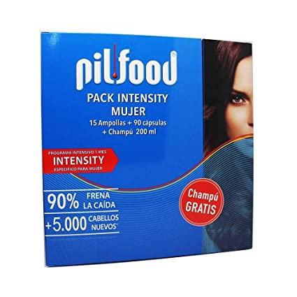 PILFOOD Pack Intensity Mujer 1 Mes (15 ampollas+90 cápsulas+Champú 200 ml