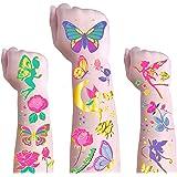 Butterfly Temporary Tattoos for Kids - Glitter Butterfly Flower Fairies Body Art Temporary Tattoos Waterproof Sticker with Bu