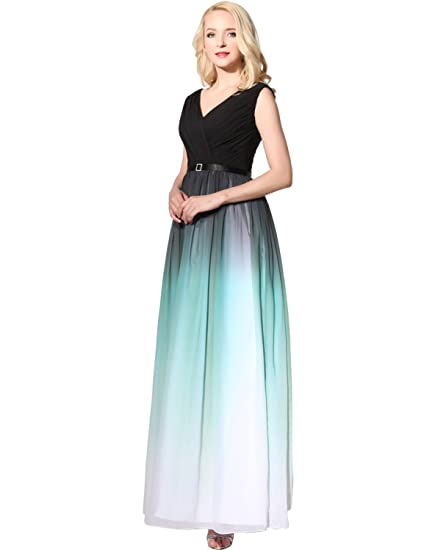 Sarahbridal Ladies V Neck Pleated Prom Dresses Elegant Gradient Color Chiffon Dress with Sashes for Women