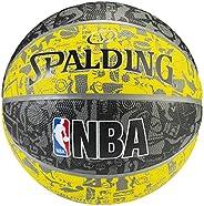 "Spalding NBA Graffiti Rubber Basketball,29.5""/ Size 7,Black/Y"