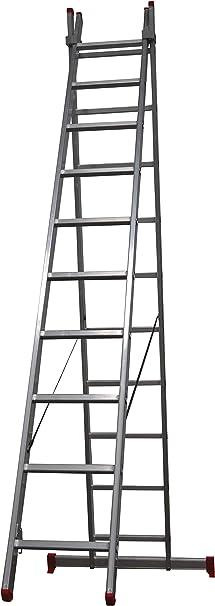 Homelux 825023 Escalera Aluminio Doble, 3.5 + 3.5 m, 2 x 12 Peldaños, 17.7 kg: Amazon.es: Jardín