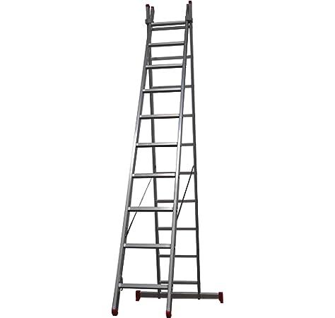 Homelux 825018 Escalera Aluminio Doble, 3 + 3 m, 2 x 11 Peldaños, 13.75 kg: Amazon.es: Jardín