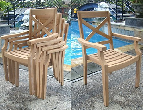 (Add-on Item: Granada Stacking Arm / Captain Grade-A Teak Wood Luxurious Dining Chair #WHDCARGR)