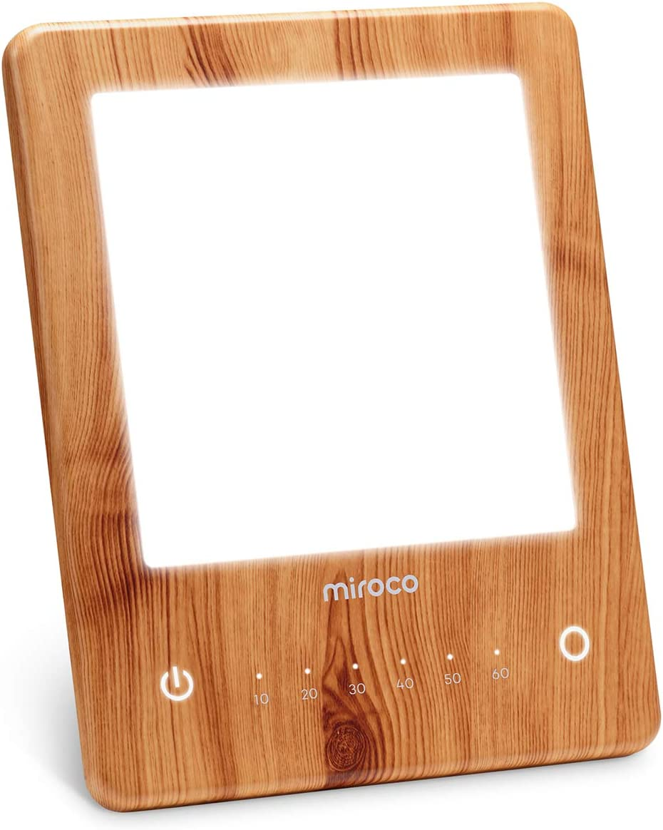 Miroco Light Therapy Lamp, LED Bright Therapy Light - UV Free 10000 Lux, Timer Function, Touch Control with 6 Adjustable Brightness Levels, Standing Bracket, for Home/Office Use(Wood Grain): Home & Kitchen