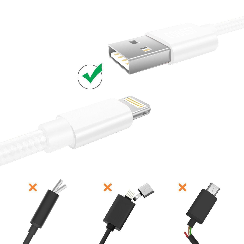 en Nylon Tress/é avec Connecteur Aluminium pour iPhone XS Max XR X 8 7 6 6S Plus 5 5S 5C SE iPad Mini Air Pro iPod MFi Certifi/é Apple Lot de 2, 1m Blanc C/âble USB Cordon Chargeur iPhone  Rapide 1m