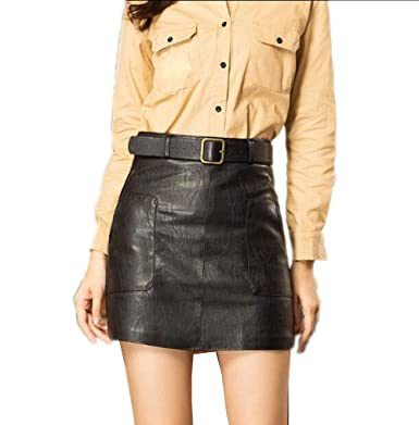 0d3749edbf Voolder High Waist Vintage Leather Pencil Skirts Streetwear A-Line Skirt  Female Black S