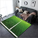 Vanfan Design Home Decorative soccer field grass Modern Non-Slip Doormats Carpet for Living Dining Room Bedroom Hallway Office Easy Clean Footcloth