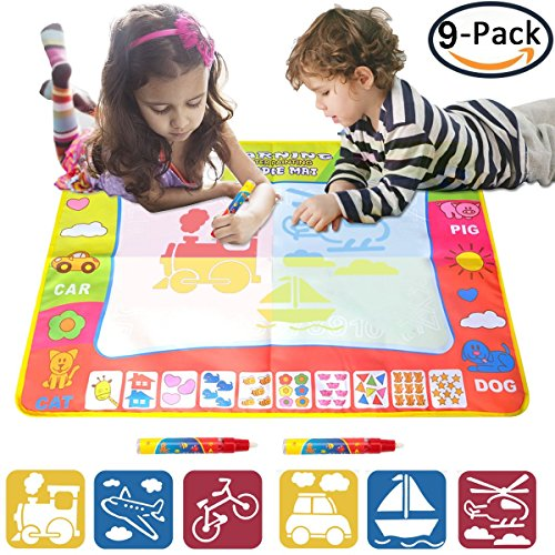 EXSPORT Aqua Doodle Mat 4 Color Children Water Magic Drawing Book Mat Board Kids Educational Toy Gift (1 (Drawing Mats)