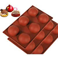 3 Pcs Silicone Mold for Chocolate, Cake, Jelly, Pudding, Round Shape Half Candy Molds Non Stick, BPA Free Silicone Molds for Baking