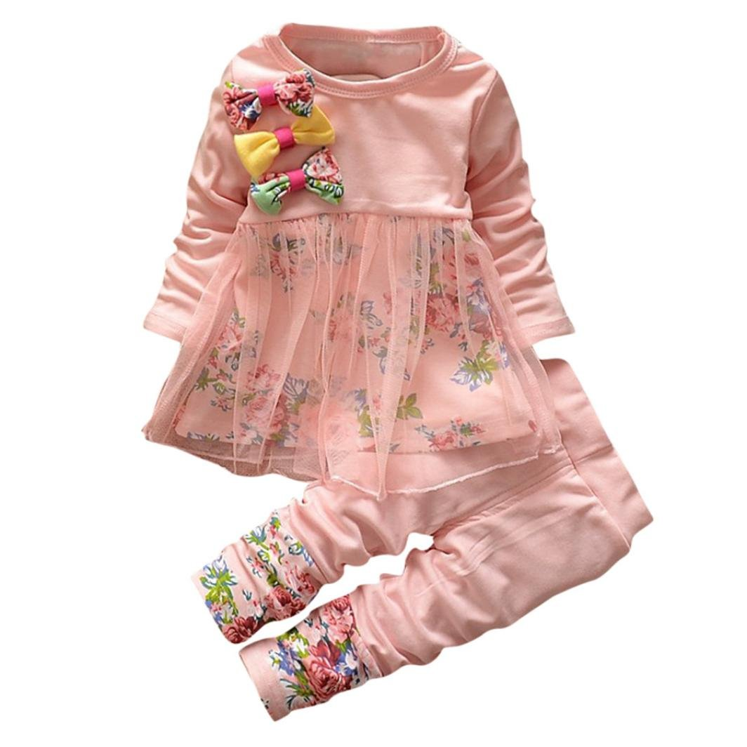 Voberry Toddler Newborn Infant Baby Girl Long Sleeve Floral Clothes Butterfly T-Shirt Tops Dress Pants 2PCS Outfits Set