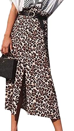 BingSai Falda de Leopardo Bohemia Alta para Mujer como Cuadro US ...