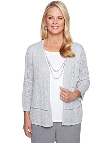 7e51aba9058 Alfred Dunner Women s Petite Pointelle Two For One Sweater