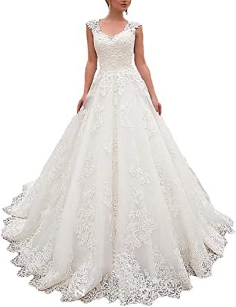 Amazon Com Lilyla Cap Sleeves Wedding Dresses Sweetheart Neckline Ball Gowns Lace Appliques Bridal Dress Clothing,Wedding Dresses For Big Busts