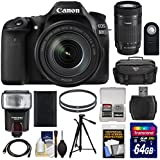 Canon EOS 80D Wi-Fi Digital SLR Camera & 18-135mm IS USM with 55-250mm IS STM Lens + 64GB Card + Battery + Case + Filters + Tripod + Flash + Kit