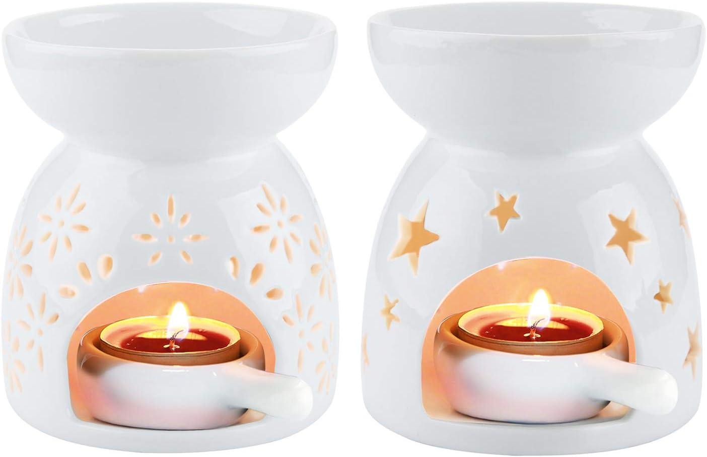 Comsaf Ceramic Tealight Candle Holder Oil Burner Essential Oil Incense Aroma Diffuser Furnace Home Decoration Romantic White Set Of 2 Home Kitchen