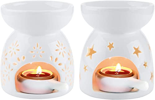 ComSaf Ceramic Tealight Candle Holder Oil Burner, Essential Oil Incense Aroma Diffuser Furnace Home Decoration Romantic White Set of 2