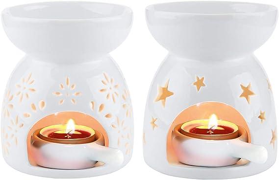 Rachel's Choice Ceramica Bruciatore di Oli Essenziali per Aromaterapia Lampada dell'aroma Portalume Tealight per Diffusore Bianco Confezione da 2