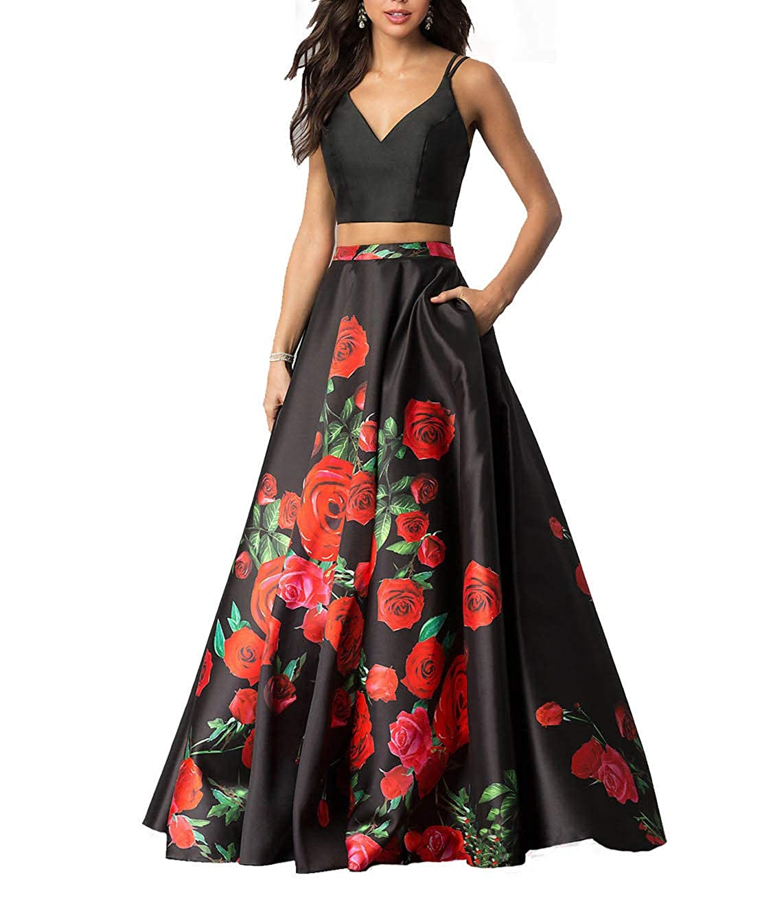 ef262cbc4a8 Momabridal Womens Long 2 Piece Satin Floral Prom Dresses Spaghetti Straps Evening  Party Ball Gowns with Pockets at Amazon Women s Clothing store