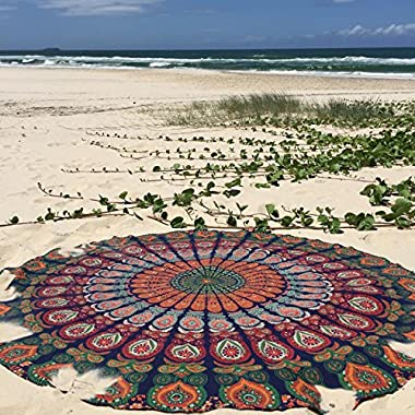 Labhanshi 1 X Indian Mandala Round Roundie Beach Throw Tapestry Hippy Boho Gypsy Cotton Tablecloth Beach Towel , Round Yoga Mat